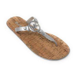 Michael Kors MK Jelly Flip Flop Cork Silver 11